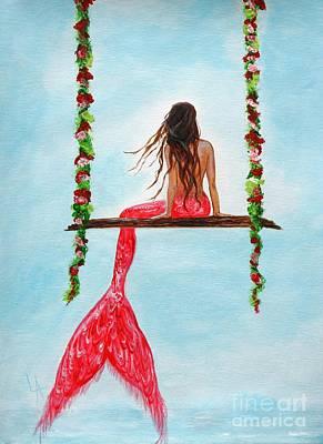 Mermaid Hangout Poster by Leslie Allen