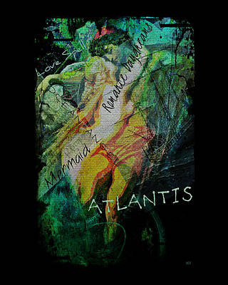 Poster featuring the digital art Mermaid Love Spell by Absinthe Art By Michelle LeAnn Scott