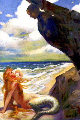 Mermaid On The Beach - At The Beach America Poster by Private Collection