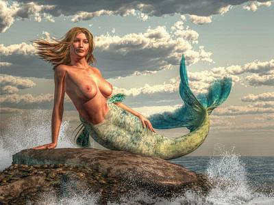 Mermaid On The Rocks Poster