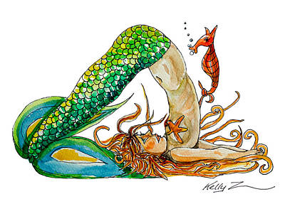 Mermaid Plow Pose Poster by Kelly ZumBerge
