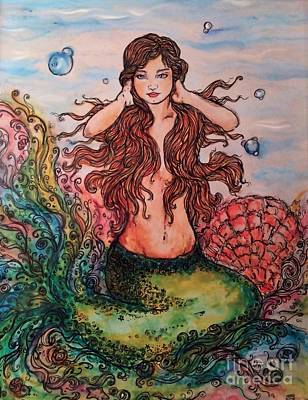 Mermaid Primping Poster by Robin Lawver