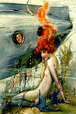 Mermaid With Sailor In Submarine - At The Beach America Poster by Private Collection
