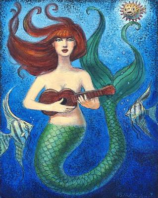 Poster featuring the painting Mermaid Ukulele Angels by Sue Halstenberg