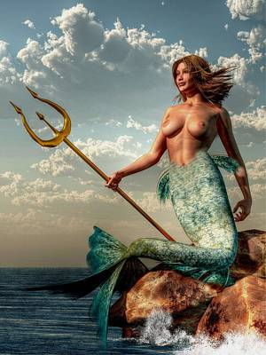Mermaid With Golden Trident Poster