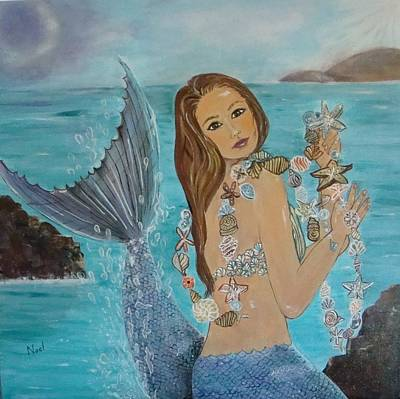 Mermaid With Shell Necklace Poster by Noel Hernandez