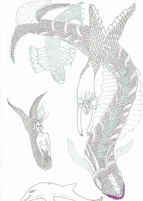 Poster featuring the drawing Mermaids And Sea Dragons by Helen Holden-Gladsky