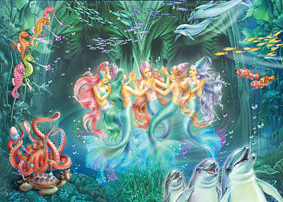 Mermaids Danicing Poster by Zorina Baldescu