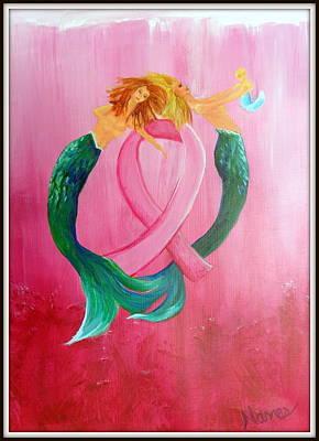 Mermaids In Pink Poster by Deborah Naves