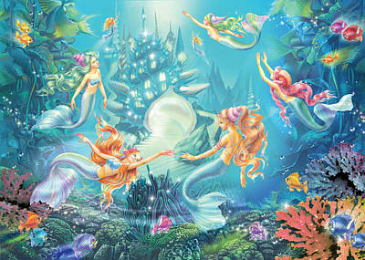 Mermaids Place Poster by Zorina Baldescu