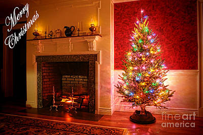 Merry Christmas Fireplace Poster