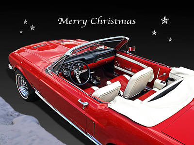 Merry Christmas Mustang Poster