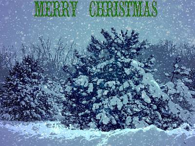 Merry Christmas Winter Scene Poster