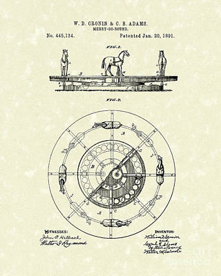 Merry-go-round 1891 Patent Art Poster by Prior Art Design