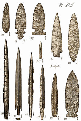 Mesolithic And Neolithic Flint Tools Poster
