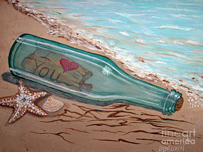 Message In A Bottle Poster by Brenda Brown