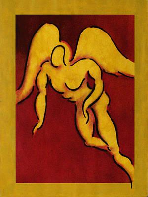 Messenger Nude Against A Red Backgroun Poster by Estefan Gargost