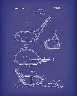 Metallic Golf Club Head 1926 Patent Art Blue Poster