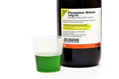 Methadone Drug Bottle And Liquid Poster by Dr P. Marazzi