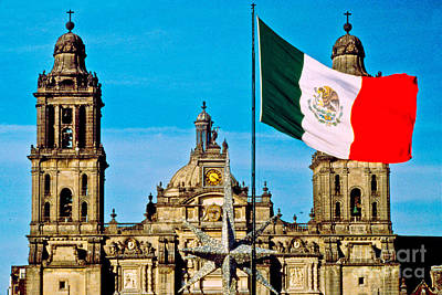 Mexican Flag And Cathedral Poster by Spencer Grant