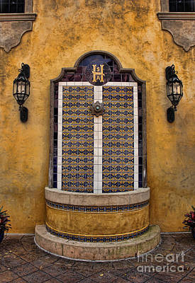Mexican Hacienda Fountain II Poster