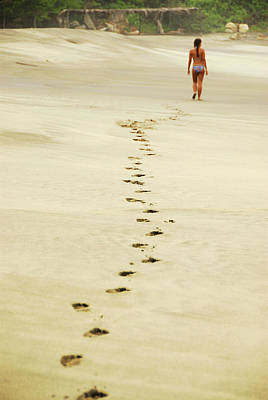 Mexico, Mazunte, View Of Footprints Poster by Anthony Asael