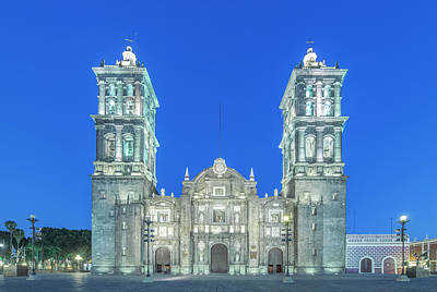 Mexico, Puebla Cathedral Completed Poster