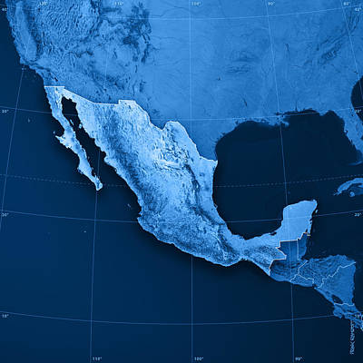 Mexico Topographic Map Poster