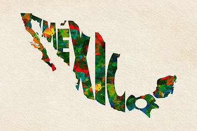 Mexico Typographic Watercolor Map Poster by Ayse Deniz