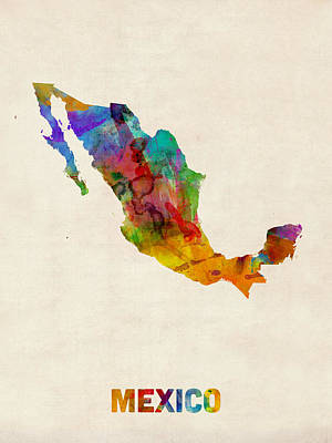 Mexico Watercolor Map Poster by Michael Tompsett