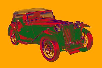Mg Tc Antique Car Pop Art Poster by Keith Webber Jr