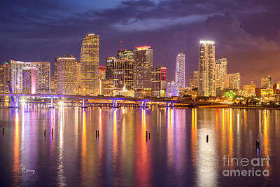 Miami Coming Alive At Dusk Poster by Rene Triay Photography