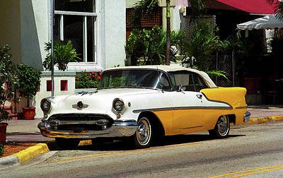 Miami Beach Classic Car With Watercolor Effect Poster by Frank Romeo