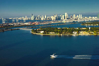 Poster featuring the photograph Miami City Biscayne Bay Skyline by Gary Dean Mercer Clark