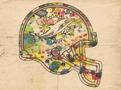 Miami Dolphins Helmet Art Poster by Florian Rodarte