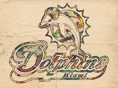 Miami Dolphins Logo Art Poster by Florian Rodarte