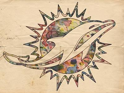 Miami Dolphins Vintage Logo Poster by Florian Rodarte