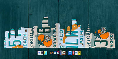 Miami Florida City Skyline Vintage License Plate Art On Wood Poster by Design Turnpike