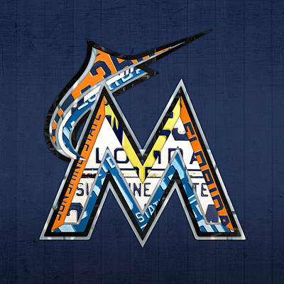Miami Marlins Baseball Team Vintage Logo Recycled Florida License Plate Art Poster