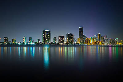 Miami Night Skyline Poster by Andres Leon