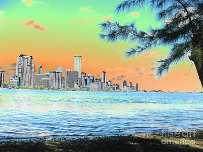 Miami Skyline Abstract II Poster by Christiane Schulze Art And Photography