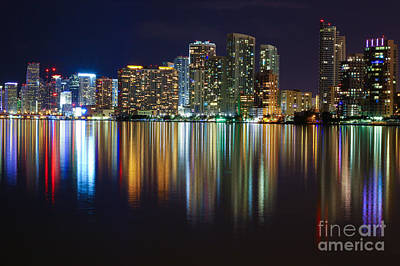 Miami Skyline IIi High Res Poster by Rene Triay Photography