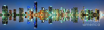 Poster featuring the photograph Miami Skyline Panorama by Carsten Reisinger