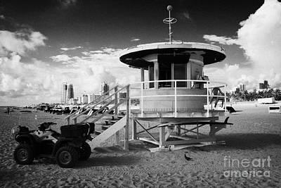 Miami South Beach Ocean Rescue Tower And Quad Atv  Florida Usa Poster