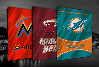 Miami Sports Teams Poster by Joe Hamilton