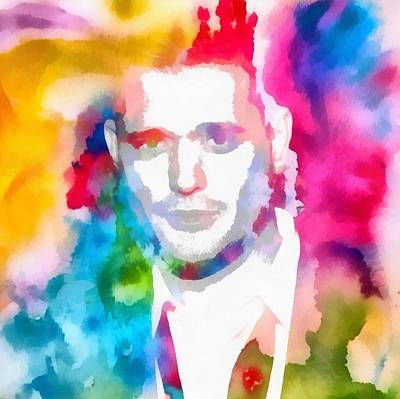 Michael Buble Watercolor Portrait Poster by Dan Sproul