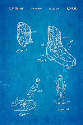 Michael Jackson Anti Gravity Boot 2 Patent Art 1993 Blueprint Poster by Ian Monk