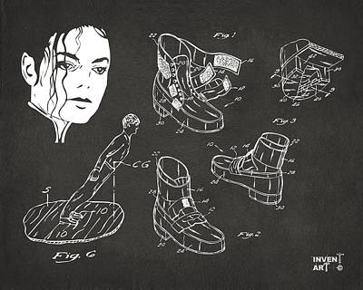 Michael Jackson Anti-gravity Shoe Patent Artwork Vintage Poster by Nikki Marie Smith