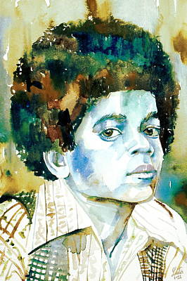 Michael Jackson - Watercolor Portrait.12 Poster by Fabrizio Cassetta