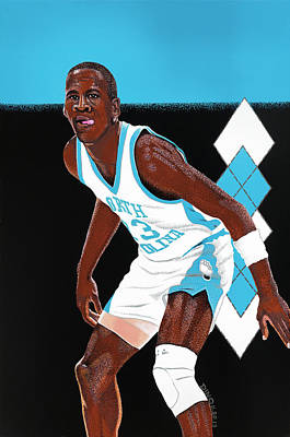 Michael Jordan Carolina Blues Poster by Dino Murphy